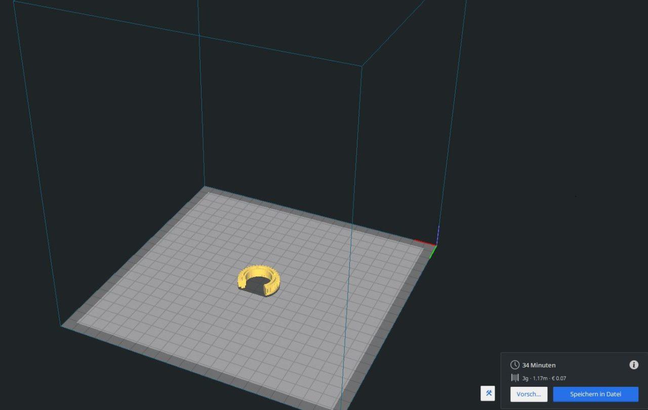 Ersatzteile aus dem Drucker - Vorbereitung für den Druck dargestellt in der Software Ultimaker CURA